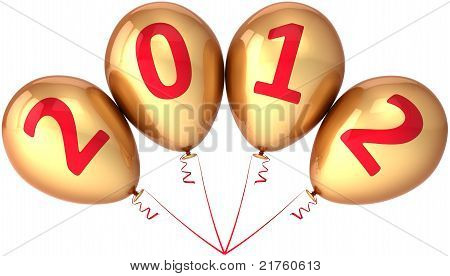 New Year 2012 party balloons decoration golden