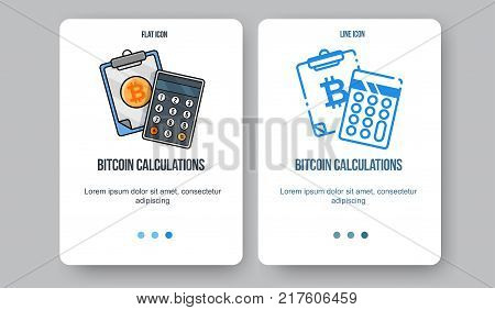 Flat line illustration for web and app. Cryptocurrency concept icon, bitcoin technologies.