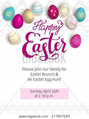 Color Easter eggs with Happy Easter lettering inscription. Easter holiday background for design card, banner, ticket, leaflet, poster and so on.