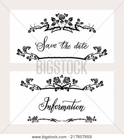 Wedding holiday stationary set with lettering inscription. Wedding templates for design card, banner, invitation, leaflet, announcement and so on.