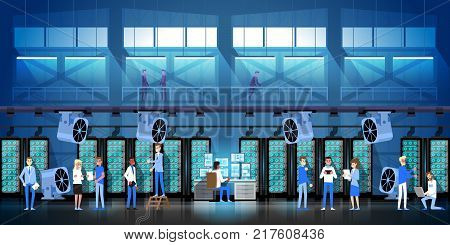 Bitcoin Mining Farm In Data Center Room Hosting Serve Digital Crypto Currency Modern Web Money Vector Illustration.