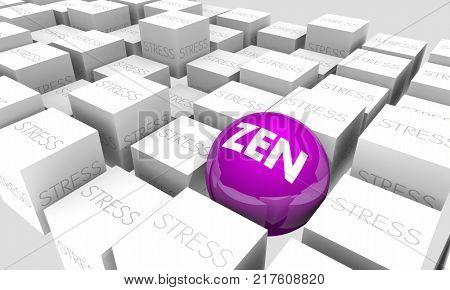 Zen Stress Relief Purify Relax Enlightenment 3d Illustration