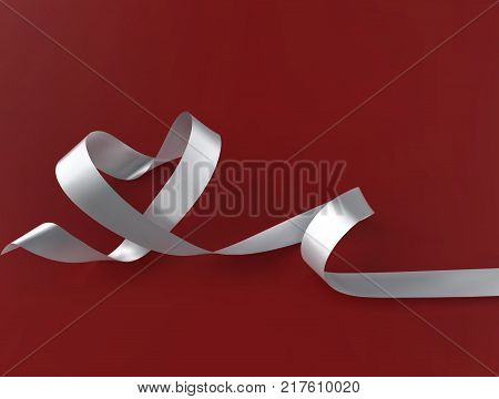 White Ribbon Heart Shape. Charity or Love story vector red background. Valentine day concept design template.