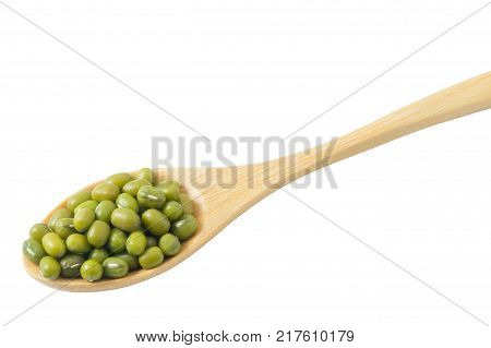 Cuisine and Food Close Up of Raw and Uncooked Mung Dried Beans in Wooden Spoon Isolated on White Background.