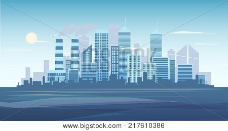 Urban background of cityscape with the factory. City skyline vector illustration. Blue city silhouette. Cityscape in flat style. Modern city landscape. Cityscape backgrounds