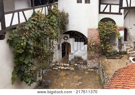 Bran Romania October 09 2017 : Fragment of Bran Castle - dramatic 14th-century castle former royal residence & alleged legend of Count Dracula inspiration in Bran city in Romania