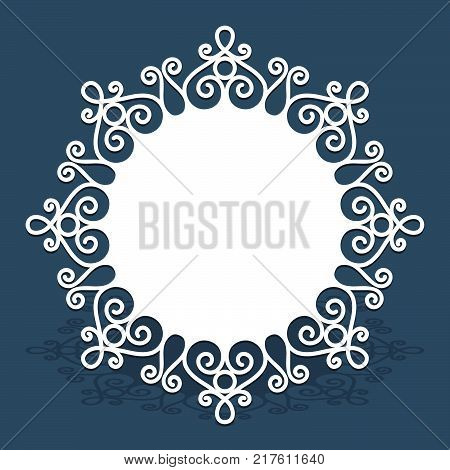 Circle vector doily with lace border pattern, cutout paper ornament, swirly round decoration for laser cutting or wood manufacturing