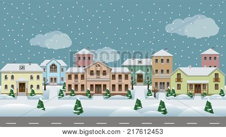 Vector urban landscape. Set of town houses along city street sidewalks winter with snowflakes and trees in snow. Seamless background for cartoon or game asset. Vector illustration