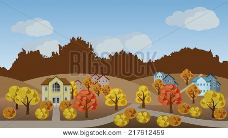 Village autumn landscape scene. Cartoon background with town houses hills and colorful trees can be used in game asset. Flat style vector illustration