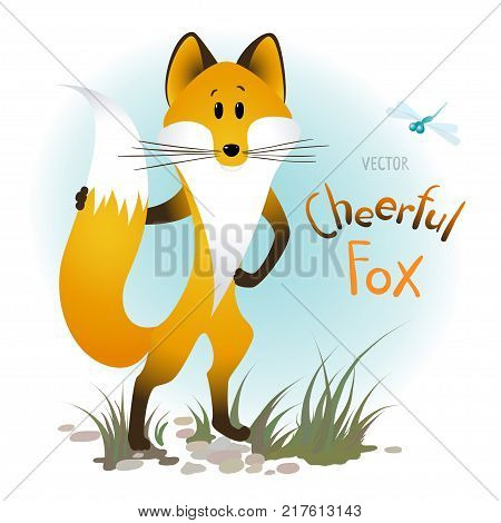 Vector cartoon character. The naively depicted cheerful fox.