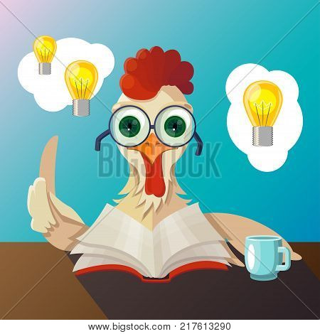 Vector rooster with glasses reading a book, he had the idea, drinking tea