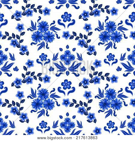 Decorative floral pattern for backgrounds ornate with traditional blue on white ornament in Russian style Gzhel with flowers and leaves. Seamless pattern vector illustration