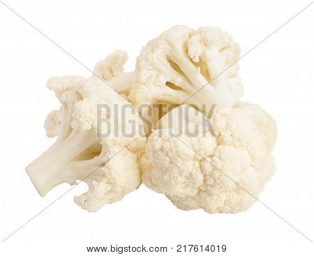 Piece of cauliflower isolated on white background macro. With clipping path.
