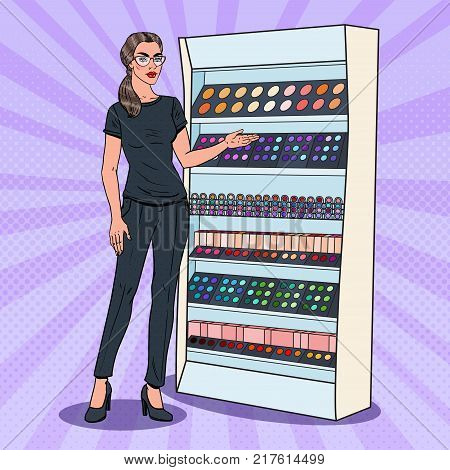 Pop Art Beauty Product Shop Assistant. Perfumery and Cosmetics Consultant. Vector illustration