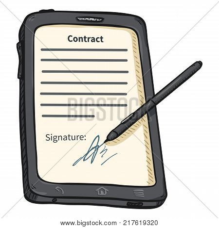 Vector Single Cartoon Gray Tablet PC with Stilus and Signatured Contract on Display
