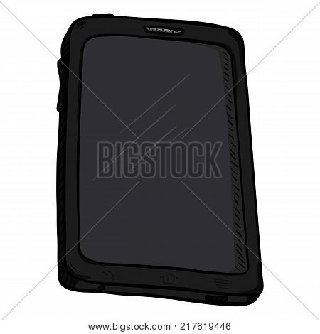 Vector Single Cartoon Black Tablet PC. Touchscreen gadget.