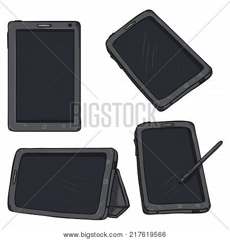 Vector Set of Cartoon Tablet PC on White Background
