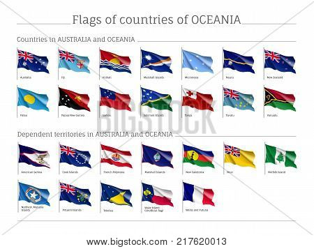 Flags Australia and Oceania realistic style big set. Collection of national symbols. Vector illustrations of tribes, aborigines, peoples, pacific ocean concept
