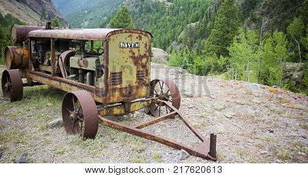 LAKE CITY, COLORADO, JUNE 22. The Alpine Loop Backcountry Byway on June 22, 2017, near Lake City, Colorado. Antique Davey Generator at the Ute Ulay Mine in Henson Ghost Town on the Alpine Loop Backcountry Byway in Colorado.