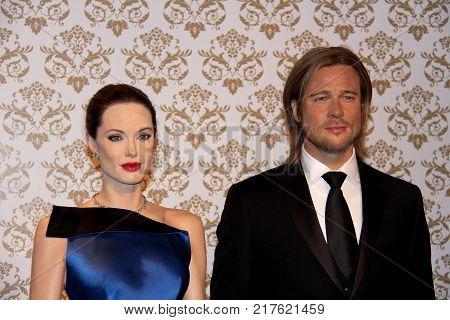 London, - United Kingdom, 08, July 2014. Madame Tussauds in London. Waxwork statue of Brad Pitt and Angelina Jolie.
