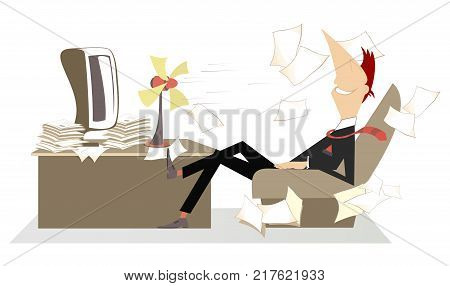 Heat in the office, man, fan and flying away papers. Man in the office sits in the armchair in front of the tabletop fan and takes a delight from the fresh air poster