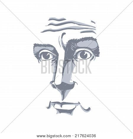 Portrait of good-looking pensive man concerned guy black and white vector drawing. Emotional expressions idea image.
