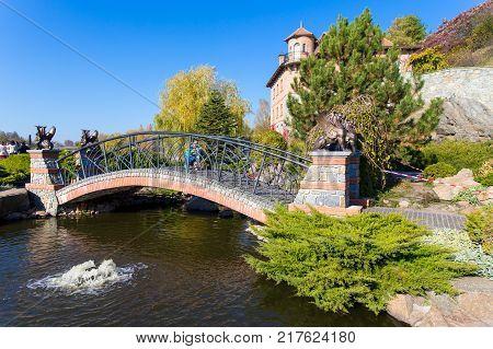 bridge over the lake in the village of Buki Ukraine. October 11 2014