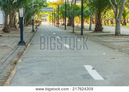 Bike lane and bicycle street lamp at thailand