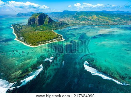 Aerial view of the nature reef in a beautiful colorful bay Mauritius island