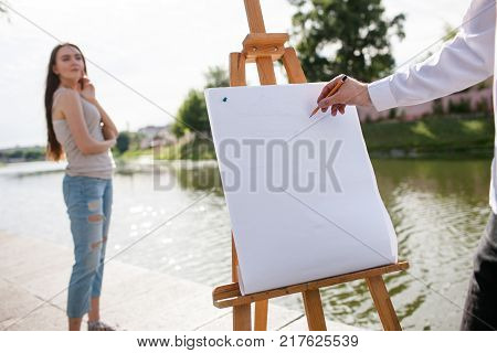 Artist woman portrait posing city concept. Lifestyle of talented people. Working process.