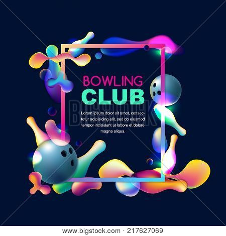 Vector Neon Bowling Background With Multicolor 3D Bowling Balls And Pins. Abstract Illustration On B