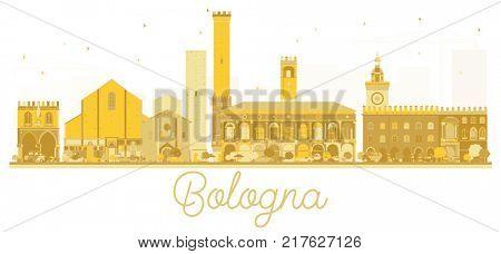 Bologna Italy City skyline golden silhouette. Business travel concept. Bologna Cityscape with landmarks.