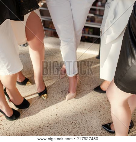 wardrobe of successful business woman. fashion trends. formal clothing and shoes.