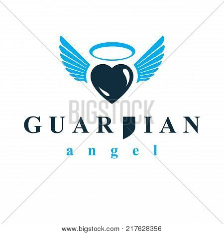 Heart vector graphic illustration love and freedom metaphor symbol. Guardian angel vector abstract emblem.