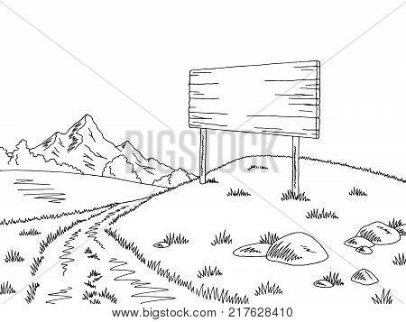 Rural road graphic black white billboard landscape sketch illustration vector