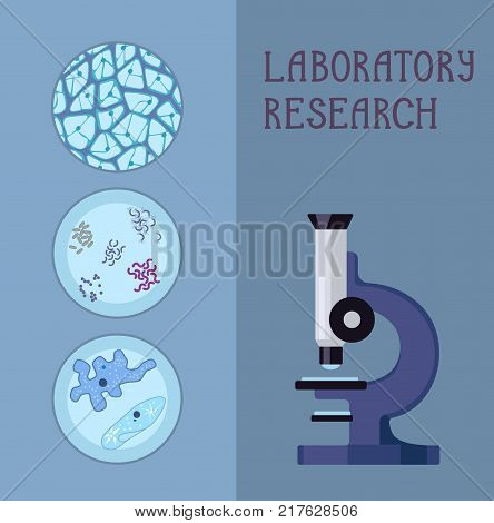 Microscope and a set of images of different biological forms. Stock vector.