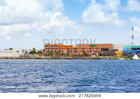 COZUMEL MEXICO - May 28 2016: Landscape of coastline in Cozumel island Mexico May 28 2016