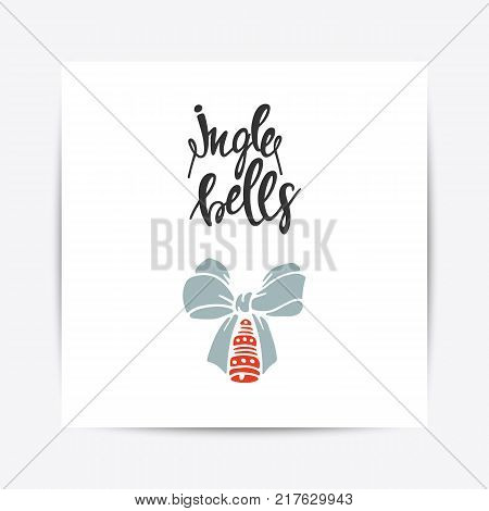 Greeting Card with christmas toys. Jingle Bells lettering. Template for New 2018 Year Cards and Merry Christmas posters
