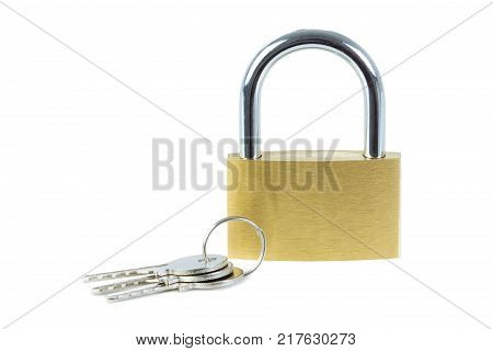 Close-up of a locked padlock and keys, viewed from front, isolated on white background.