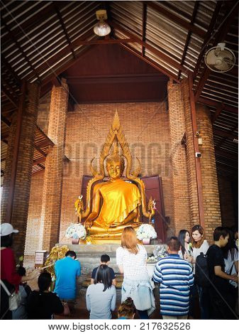 Thai people come to respect and worship Buddha at wat yai chaimongkolAyuttaya ProvinceThailand on 18 November 2017