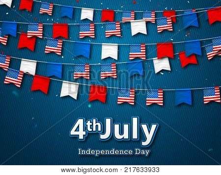 Colorful festive garlands of flags, bunting of USA pennant. Vector banner 4th of July, American Independence Day. Patriotic symbolic decoration for holiday in America with confetti on blue background
