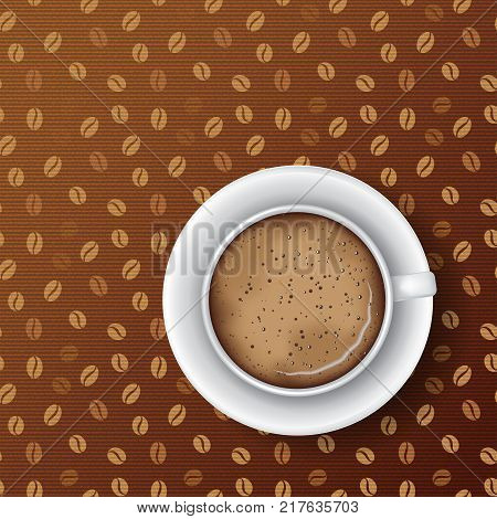 White mug of coffee with saucer coffee foam and bubbles. Top view realistic vector. Seamless coffee grains textile pattern