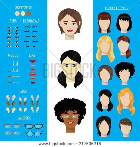 Woman character constructor vector set female face avatar creation head ears, lips, noses, eyes, eyebrows, hairdo. Asian African Americfacial girls facial elements construction illustration isolated.