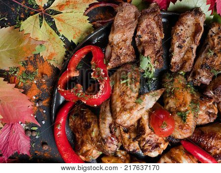 meat dishes overeating gluttons delicious concept. nourishing and fatty unhealthy eating.