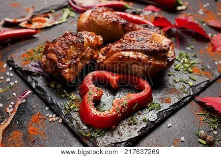 shashlik portion georgian national cuisine concept. nourishing and delicious meat. food photography.