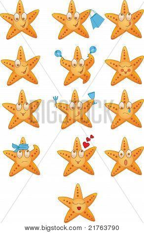 Sea Stars Icons Set