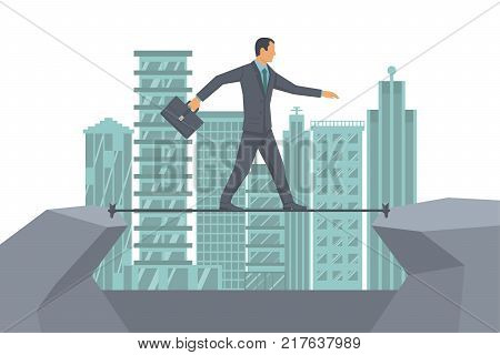 Business risk rope. Businessman walking on tightrope on background big modern city. Way to success. Vector flat design. Success in business concept. Symbol of courage, motivational business template.