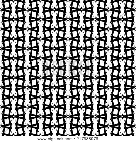 Abstract grid seamless pattern with interweaving repeating structure in minimalistic monochrome style vector illustration