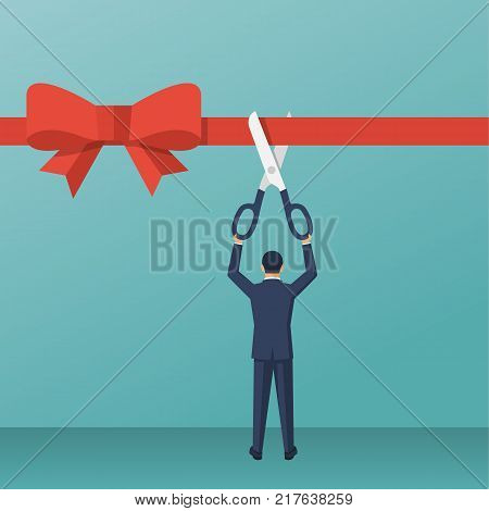 Businessman is holding big scissors cutting red ribbon. Grand opening concept. Vector illustration flat design. Isolated on background. Template ceremony, celebration, presentation and event.