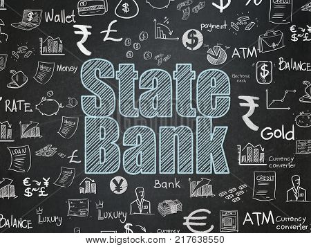 Banking concept: Chalk Blue text State Bank on School board background with  Hand Drawn Finance Icons, School Board